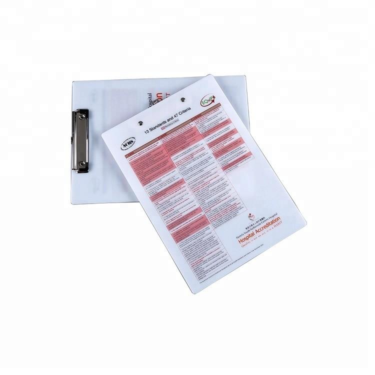Custom Logo High Quality A4 Size Acrylic Material Clip Board