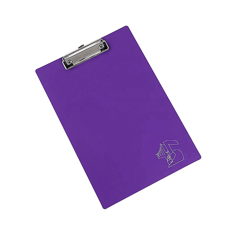 Custom Logo Office Student Use Purple A4 Size PVC Plastic Clipboard