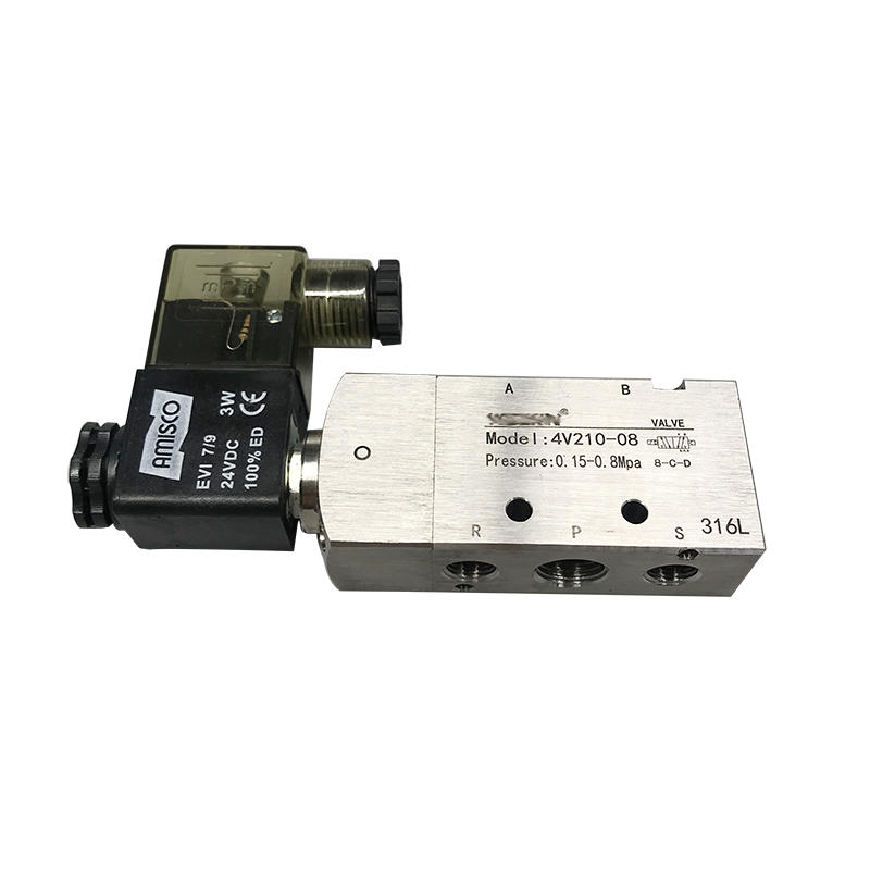 Stainless Steel 5 Port 3 Position 4V200 Series 4V210-08 Solenoid Valve