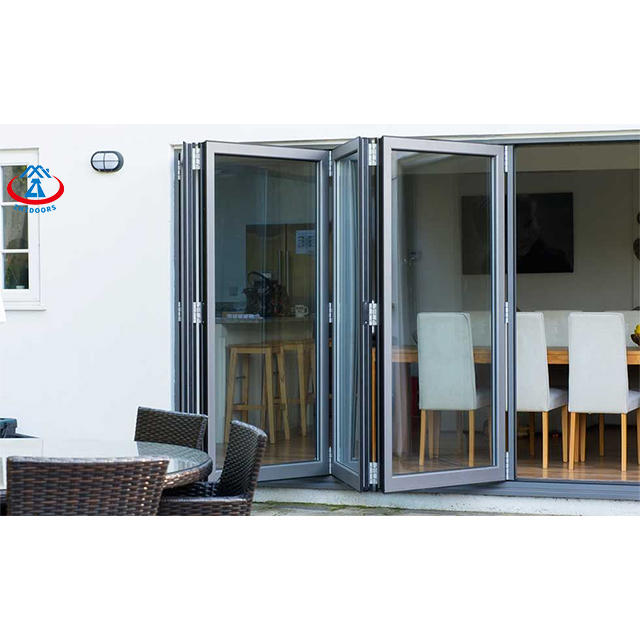 Customized Size Patio Hurricane Impact Transparent Glass Bifold Door Bi folding Doors