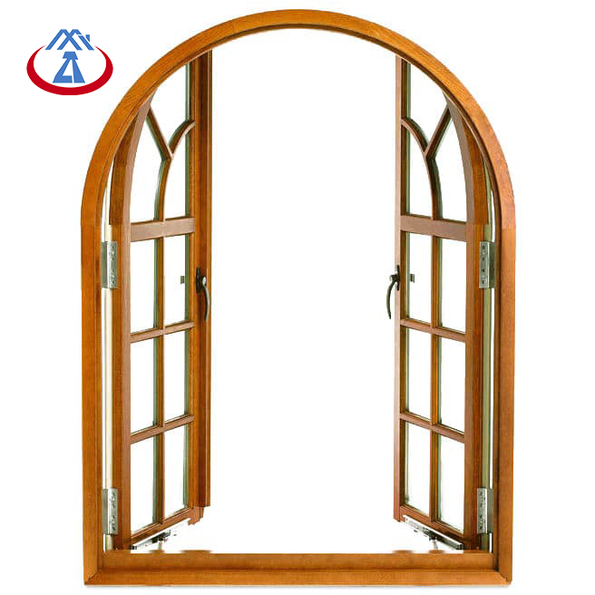 Factory Price Wooden Frame Tempered Glass French Arched Casement Window With Grilles