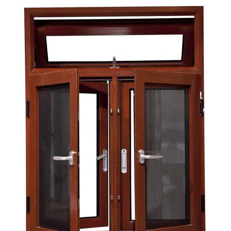 High-end aluminum frame tempered glass casement swing window with mosquito net