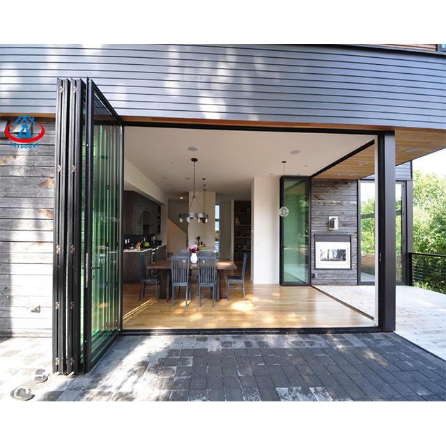 Customized Design Interior Weatherproof Double Tempred Glass Cheap Bifold Door Folding Glass Door