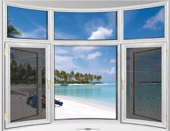 Thermal Bleak Aluminum Frame Double Tempered Glazing Swing Window