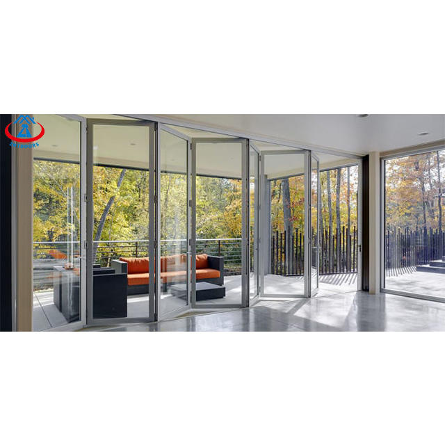 Economical residential smoothly operate double glazing slide and fold aluminium folding door