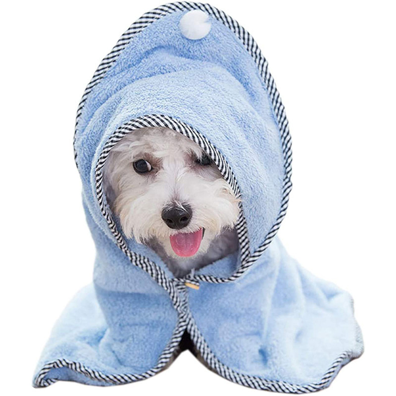quick-drying microfiber pet hooded towel for cat dog clean