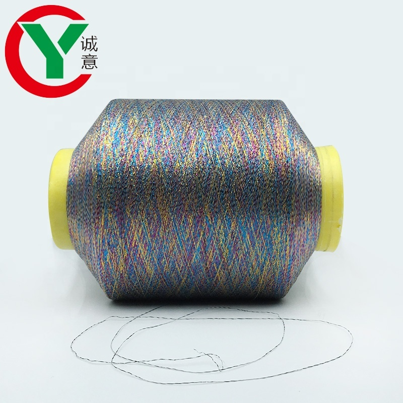 Chengyi Textlie high quality Anti-UV Feature colorful metallic yarn used for knitting,embroidery