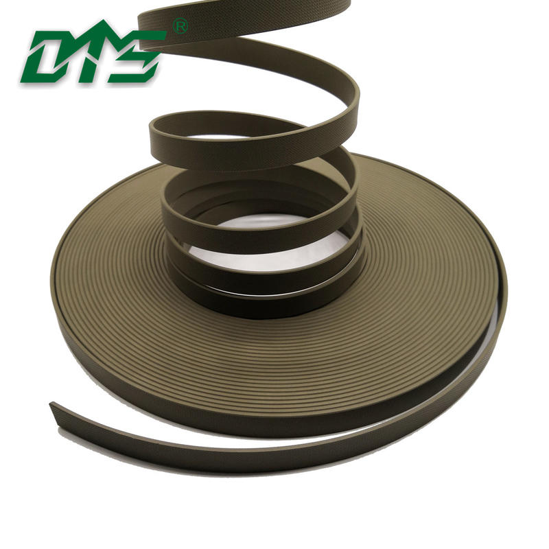 Hydraulic cylinder green color 40% bronze PTFEguide tape with embossing and chamfering