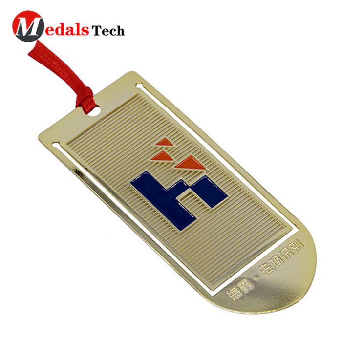 Stamping OEM custom design gold plate metal unique enamel bookmarks