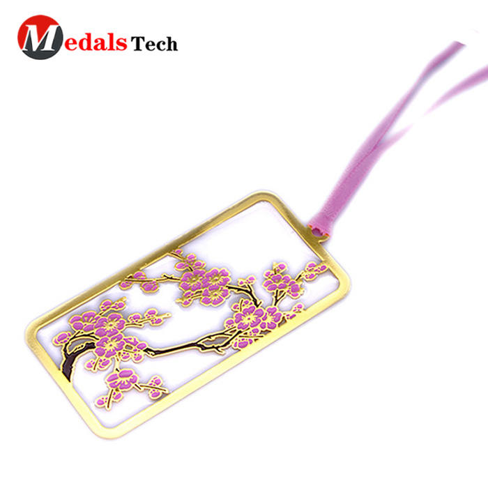 Custom cool design fancy flower metal bookmark for books