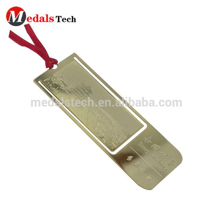 Custom design Iron gold metal souvenir bookmark for print logo