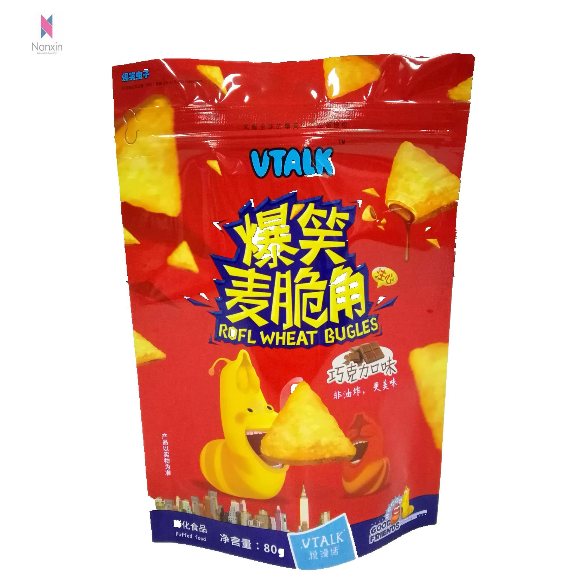 plastic aluminum foil lined coconut chips packagingpouch with zipper