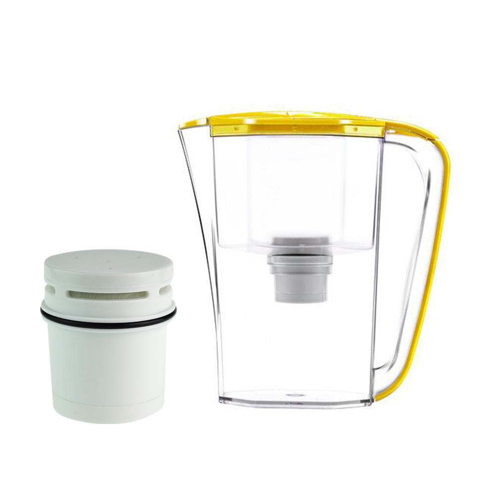 Plastic water filter jug with ion exchange resin filter