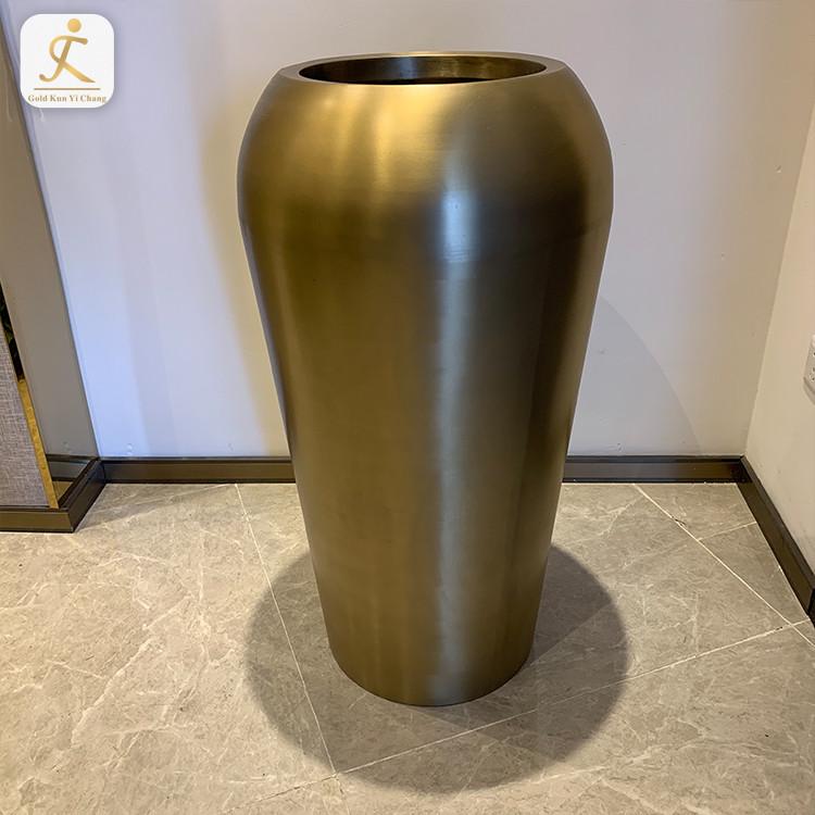 high end customized metal office matte finish craft flower pots home decor flower pot holder stainless steel floor plant vase