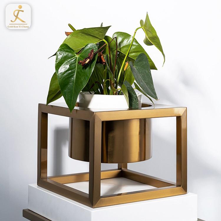 Stainless Steel Adjustable Plant Flower Pot Stands Indoor Outdoor Gold Metal Flower Potted Plant Display Holder