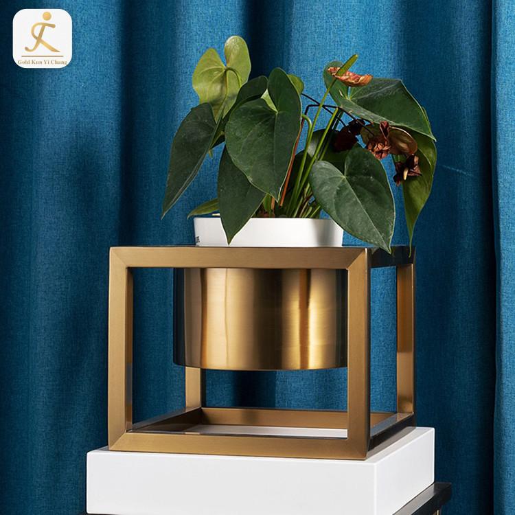 customized metal frame titanium gold garden flower pots holder brushed hairline galvanized stainless steel flower pot