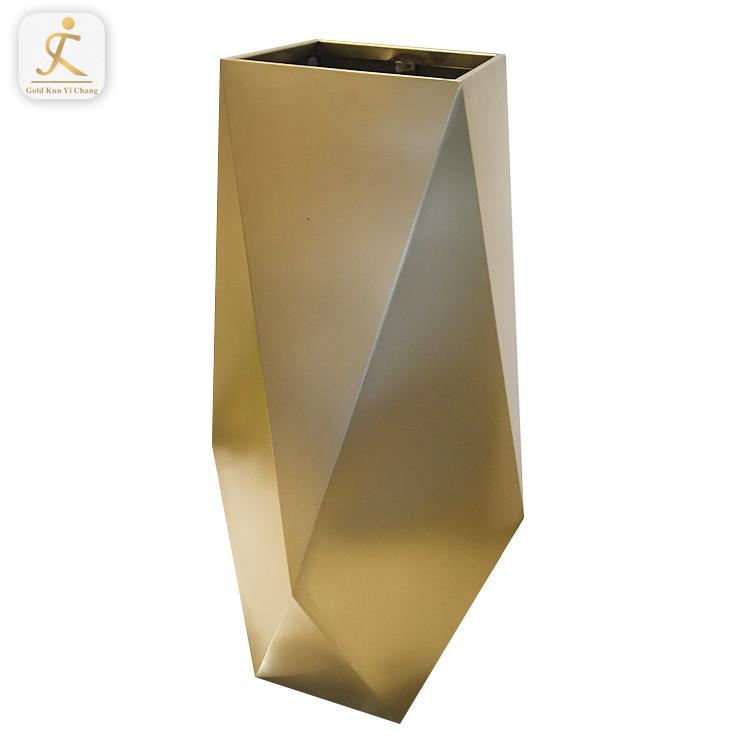 OEM tall stainless steel gold vases for hotel wedding modern stainless steel home goods decorative gold flower vase