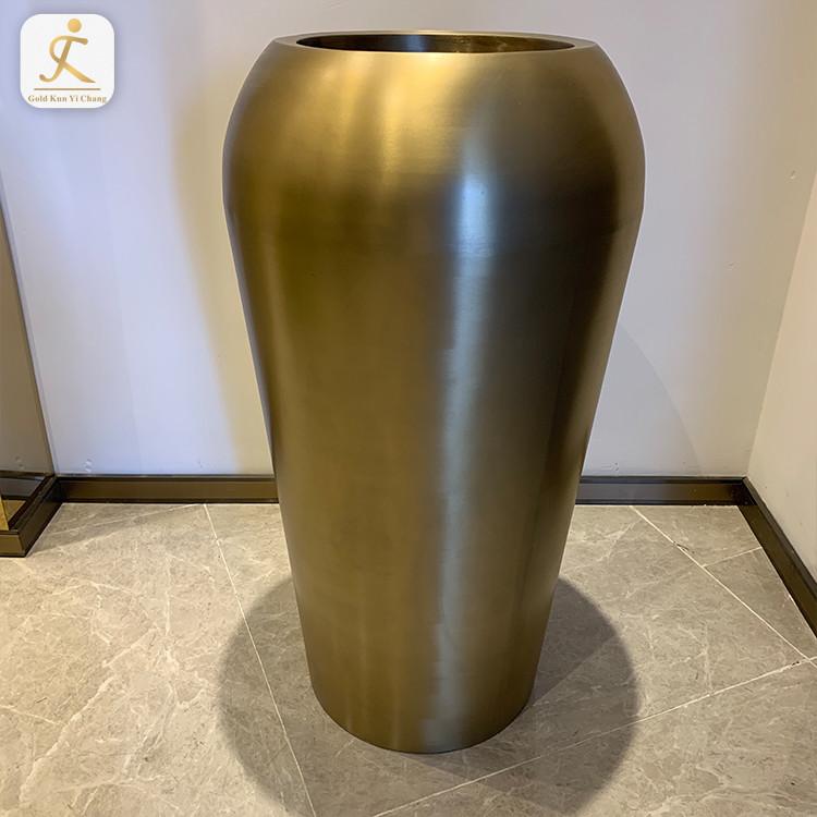 hotel decorate flower glass tall floor stainless steel vase modern big metal home floor tall stainless steel flower vases
