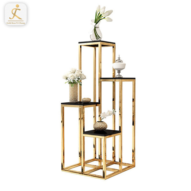 Gold rectangle metal frame stainless steel flower display stand for decoration stainless steel leg tall flower floor stand