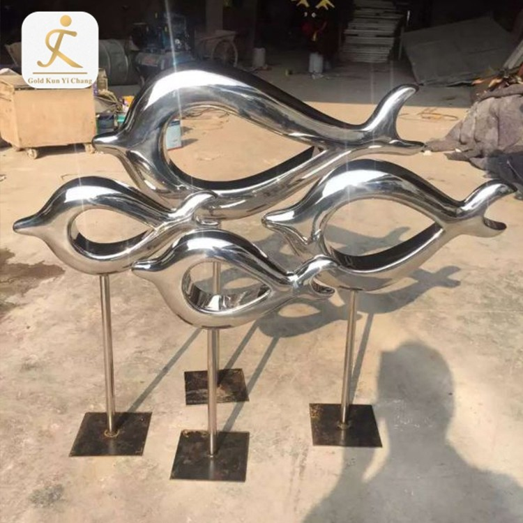 Silver Color Outdoor Stainless Steel Fish Sculpture for Sale Metal Art Decor Modern Abstract Stainless Steel Fish Sculpture