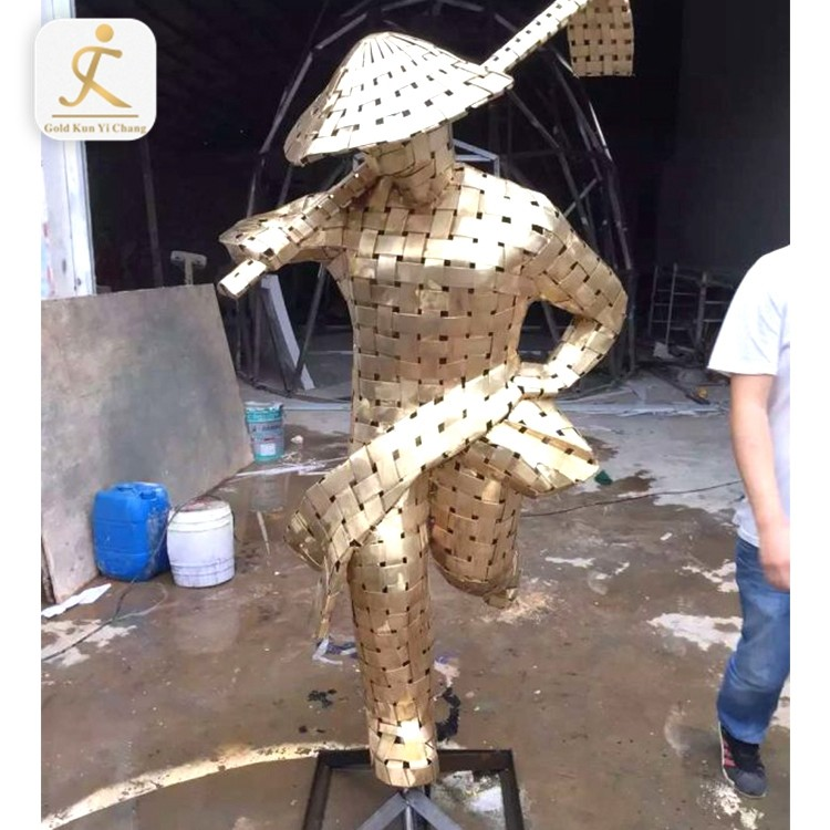 customized art modern large sculpture metal stainless steel polished body art decor figure human body sculpture