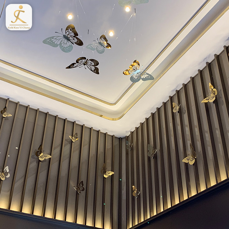 Customized design small metal butterfly art craft stainless steel ceiling decoration butterfly etching stainless steel ornaments