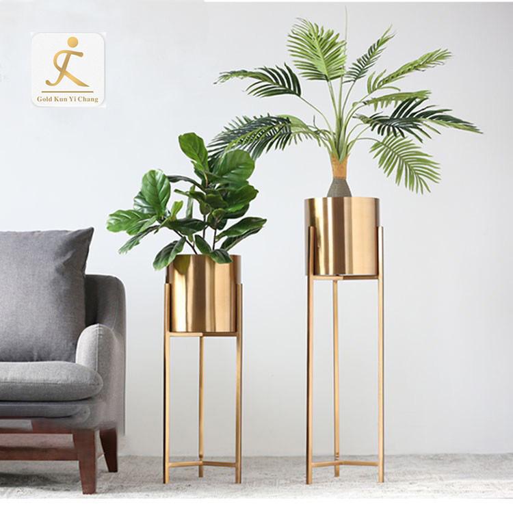 Professional customization of various modern gold metal stainless steel vases floor decorative flower planter