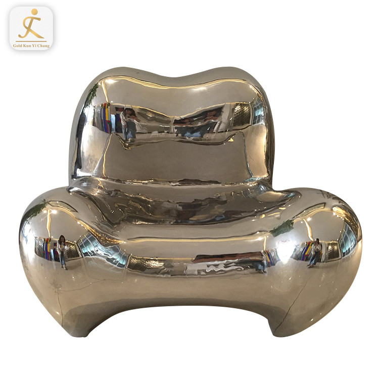 modern art chair shape statue for outdoor rest custom made mirrored finished chair shape sculpture
