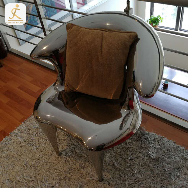 Mirror polished stainless steel table chair sculptures for home decoration modern chair shape sculpture home decor