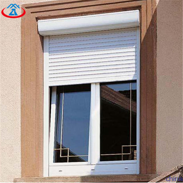 White 800mmW*2200mmH 39mm Width Of The Slat Double Layer Electric Aluminum Roller Window for House