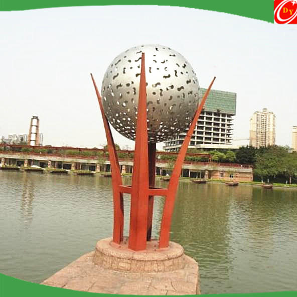 stainless steel football lights sculpture for plaza construction and garden decoration