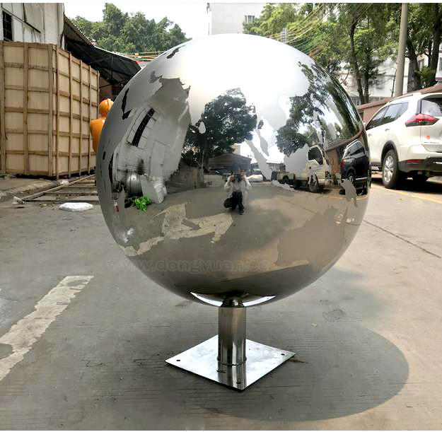 Stainless Steel Hollow Sphere Fountain Ornament, Garden Water Fountain