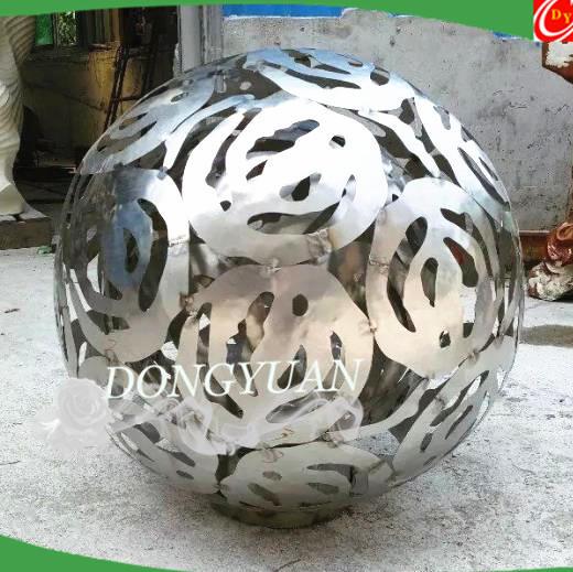 Stainless Steel Floral Orbs, Metal Garden Sculpture for Artwork