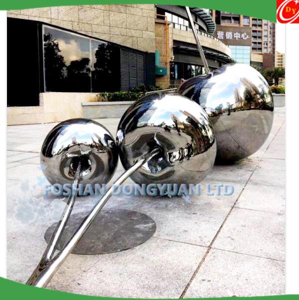 Mirror Polish Stainless Steel Cherry Sculpture for Garden Decoration
