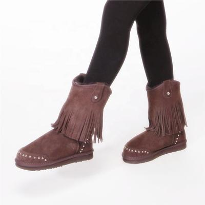 HQB-WS071 OEM customized premium quality winter thermal fashion style genuine sheepskin boots for women