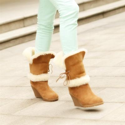 HQB-WS048 OEM customized premium quality winter thermal fashion style genuine sheepskin snow boots for women