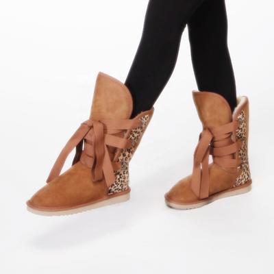 HQB-WS086 OEM customized premium quality winter thermal fashion style genuine sheepskin snow boots for women