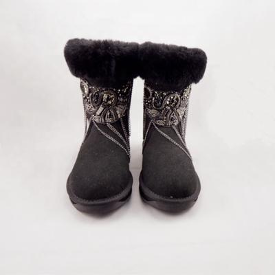 HQB-WS186 OEM/ODM customized high quality winter thermal fashion style genuine sheepskin snow boots for women