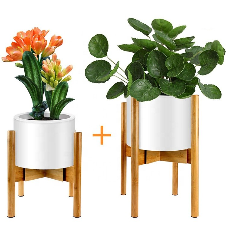 Bamboo Plant Stand Potted Plant Rack for Indoors & Outdoors Mid Century Modern Flower Pot Holder Adjustable Width: 8-12