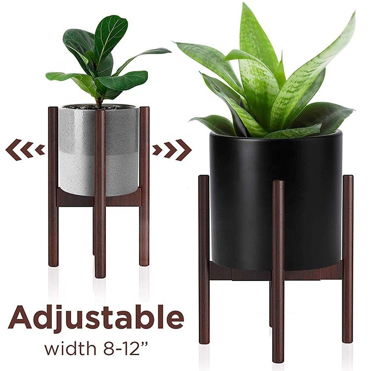 Simple Style Modern Design Extendable High Bearing Weight Indoor Outdoor Adjustable Bamboo Wood Plant Stand