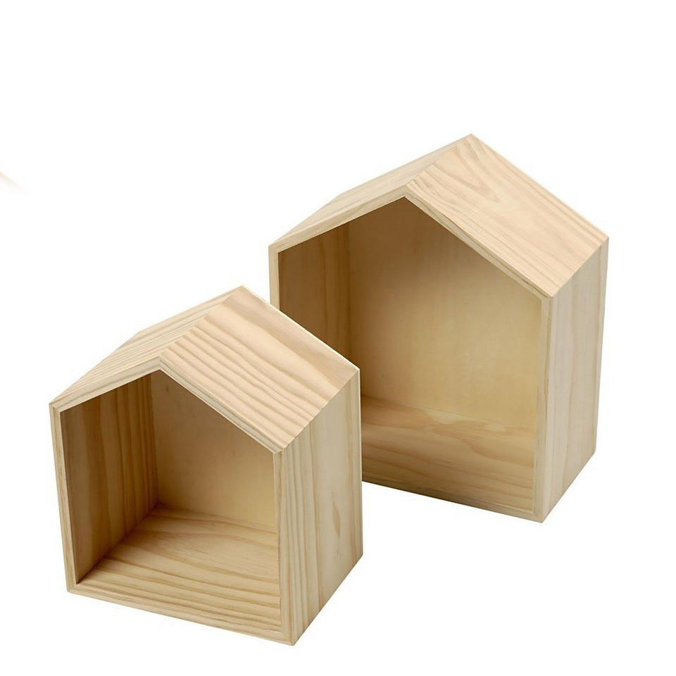 Hot sale Customized fancy unfinished hanging bird house shape wooden display box