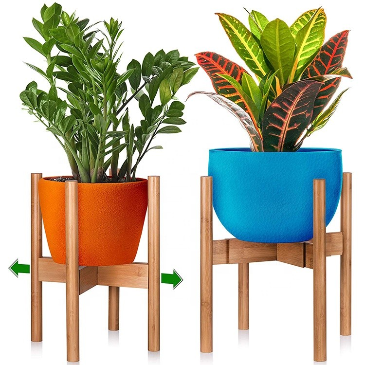 Stylish Elegant Easy To Use Adjustable Environment Bamboo Plant Pot Stand Home Decor Flower Pot Stand