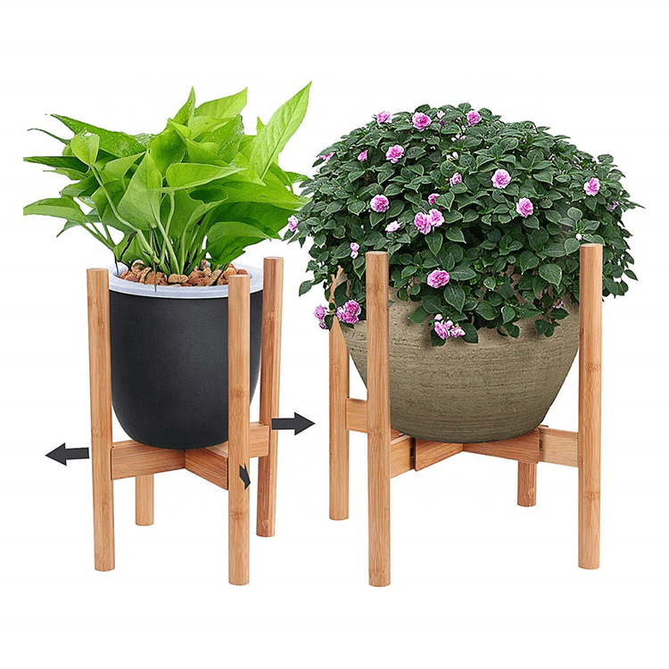 Hot Sale Adjustable Bamboo Plant Pot Stand Fits up to 12 Inch Pots Natural Wood Grain for Indoor Outdoor Modern Home Decor
