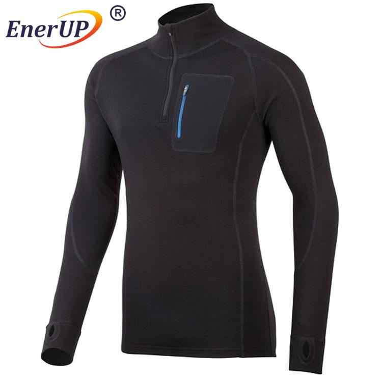 Men's performance thermal long sleeve shirt of merino wool bamboo fabric