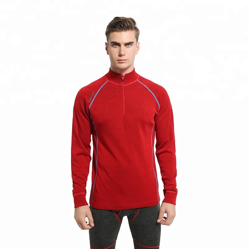 Black men merino wool pp zip-up thermal underwear