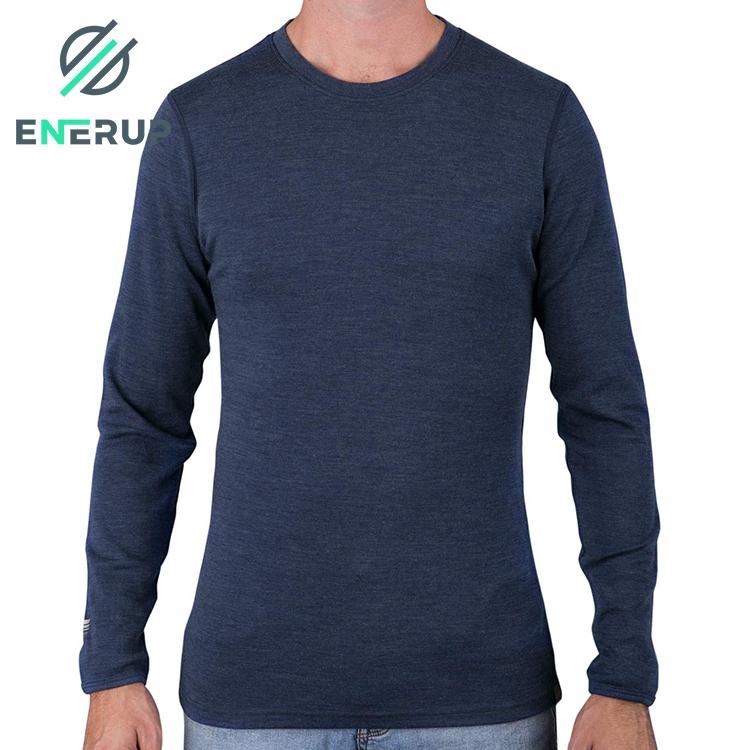 Enerup custom breathable winter wear warm two piece 100% merino wool yarn fabric thermal long underwear underwear set for mens