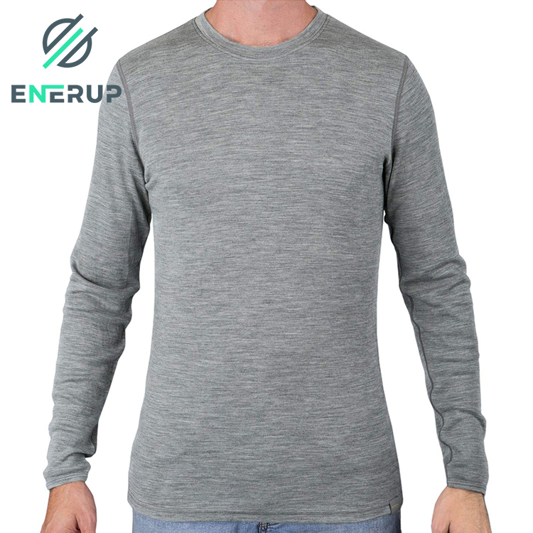 High Quality Custom Winter Two Piece Set Merino Wool Bamboo Fabric Thermal Underwear Base Layer For Mens Sports