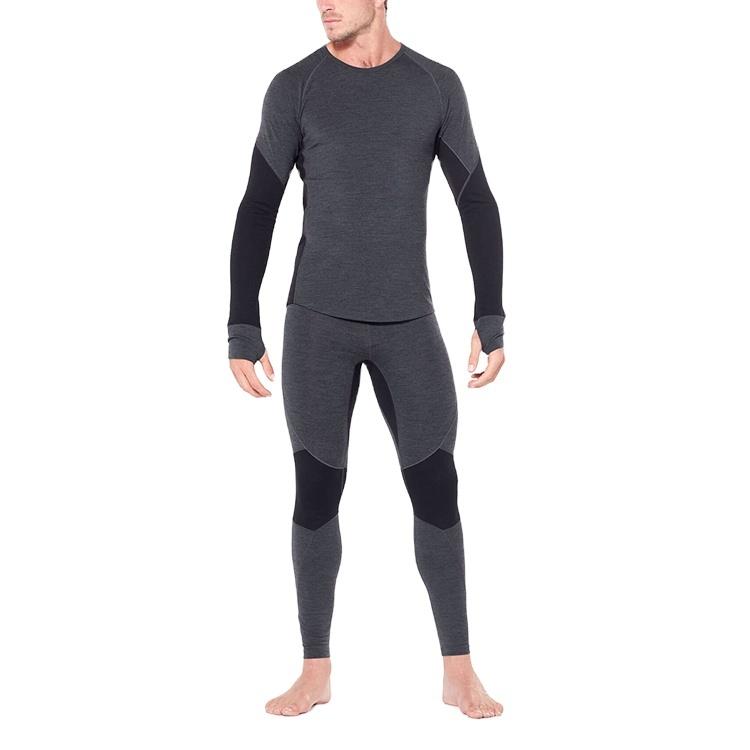 Enerup merino wool cotton lining fabric thermal underwear base layer long john set for men's clothes wear