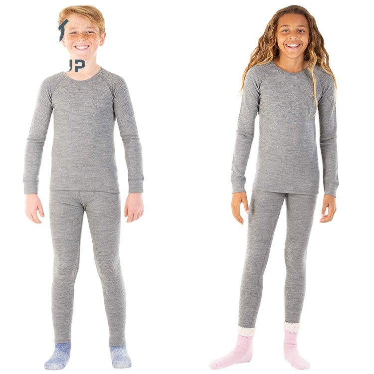 Enerup Kids Clothes Wear Merino Wool Base Layer Thermal Underwear Long Johns Set For Winter