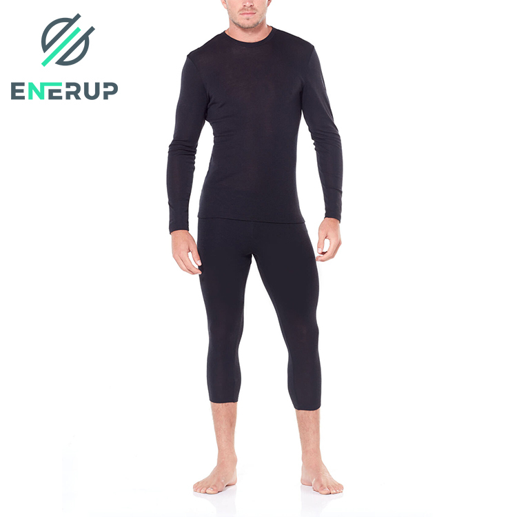 enerup high quality winter warm 100% merino wool fabric seamless sports thermal underwear set for mens